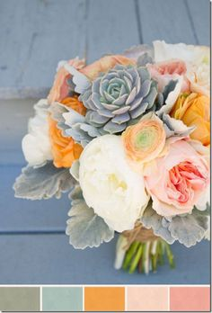 Love the silvery texture of the lambs ear greenery around the neck of this bouquet. The succulent accents its soft feel.