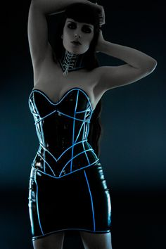 Artifice Products - Glowing trim Mini angular PVC  Corset for TRON cosplay