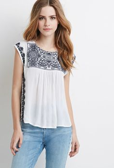 Embroidered Peasant Top | Forever 21 - 2002246822