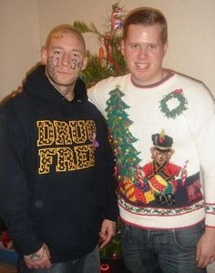 Awkward Family Photo: The truth comes out; Cleetus is NOT drug free...after he passed out from the munchies following a POT binge...his brother Lester drew ALL OVER HIS FACE!   And...you're busted!