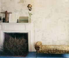 Light walls, looking a little old. Like it. John Derian's home.  Photo credit: Martyn Thompson