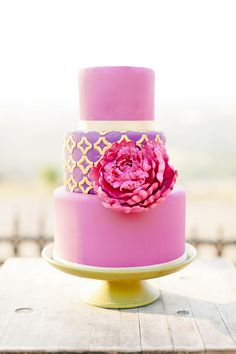 Pink on Purple with Giant Peony and Gold - Hand-cut gold appliques, sugar peony