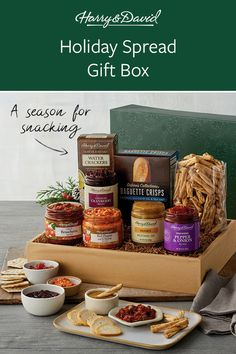 Set out an enchanting Christmas food spread at your next holiday gathering with the delicious delights offered in this holiday gift box. The assortment includes classic bruschetta, country cranberry relish, honey mustard dip along with crackers and pretzels for dipping and serving.