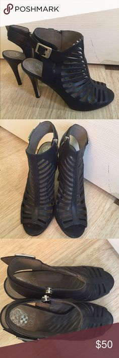 Navy Vince Camuto Heels Great condition these were worn for a few hours. These are the Aphrodite shoes and are in a size 9.5. These are leather with a man made lining. Vince Camuto Shoes Heels