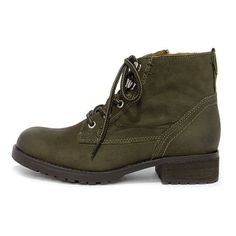 Steve Madden Gobbin Olive Green Leather Ankle Boots ($109) ❤ liked on Polyvore