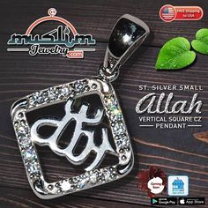 Small Sterling Silver Allah Pendant Necklace - #allahnecklace #allahpendant #nameofallah #sterlingsilver #muslimjewelry #jewelry #islamicjewelry Muslim, Allah, Islamic, Jewelry Collection, Pendant Necklace, Personalized Items, Sterling Silver, Islam, Drop Necklace