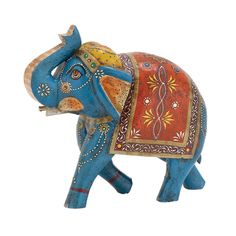 """10"""" Colorful HP Wood Elephant Figurine Moroccan STYLE Statue ~~ ACCENT Art/DECOR #Unbranded #MoroccanBoHoStyle"""