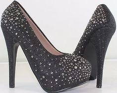 New Women's Fashion Faux Diamond Glitter Sexy High Heel Stilettos Platform Pumps - BUY NOW ONLY 26.99