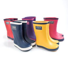 Our Children's Wellies are without a doubt one of our most popular products and are available in plenty of great colours to co-ordinate with our outerwear styles. Made from natural rubber they are soft, supple, flexible and comfier for little feet than pl Toddler Rain Boots, Girls Rain Boots, Kids Boots, Hooded Raincoat, Baby Dungarees, Rubber Raincoats, Raincoats For Women