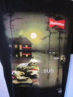 "Vintage 1996 Budweiser Frogs ""BUD...WEIS...ER"" Mens T Shirt Stanley Desantis XL"