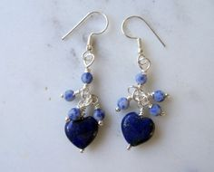 Heart drop earring.  Genuine Lapis Lazuli carved hearts with blue sodalite dangles, 925 Sterling Silver plated, romantic blue boho jewellery, handmade in the UK by CalicoroseStudio £13.50