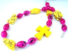 Chunky Cross Necklace, Pink Jewelry for Women, Christian Jewelry, Cross Jewelry, Bohemian Necklace by AllAboutJESUSDesigns on Etsy https://www.etsy.com/listing/201709286/chunky-cross-necklace-pink-jewelry-for
