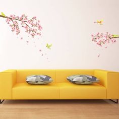 Cherry Blossoms & Birds Peel and Stick Nursery Kids Wall Decals Stickers Wall Vinyl