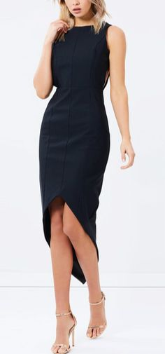 You must be the highlight at party. This little black dress features solid color, round neck, backless design, asymmetric hem and slim fit design.