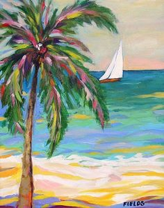 Love the colors in this palm tree and the peaceful ocean the sailboat travels.