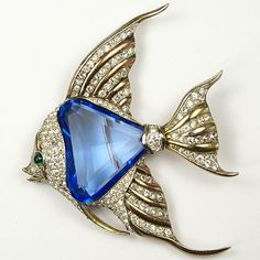 Trifari 'Alfred Philippe' Faceted Sapphire Belly Angelfish Pin Clip
