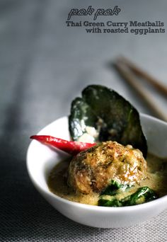 thai green curry meatballs with roasted eggplant