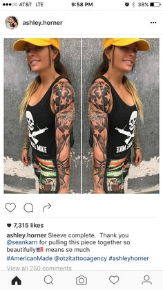 Ashley Horner tattoo sleeve. America!!