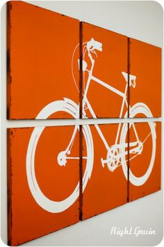 Large Bike Wall Art - The Distressed Retro Bicycle Screen Print( teal and grey or black for josh's room!) Large piece of fabric, fabric paint or canvas and paint his bike. ( projector project) Perfect for the long hallway Retro Bicycle, Bicycle Print, Bicycle Cafe, Diy Wall Art, Diy Art, Bike Wall, Bike Room, Ideias Diy, Art Mural