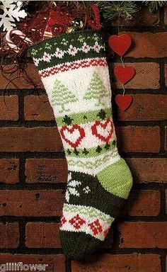 FAIR ISLE CHRISTMAS STOCKING - VINTAGE KNITTING PATTERN | eBay    No pattern info but it is a very pretty stocking