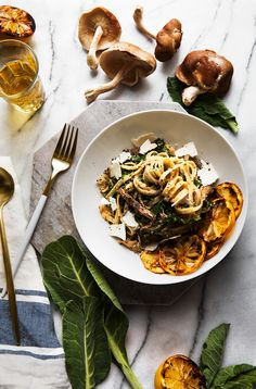 grilled lemon + collard green pasta with mushrooms.