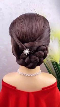 Hairdo For Long Hair, Long Hair Video, Short Hair Updo, Updo Hairstyles Tutorials, Elegant Hairstyles, Braided Hairstyles, Hair Style Vedio, Bridal Hair Buns, Bridal Hair Inspiration