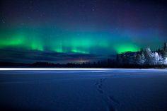 Northern Lights near Muonio in Finnish Lapland.