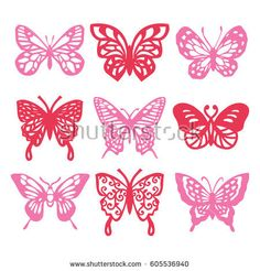 A vector illustration of 9 different intricate lace butterfly filigree.