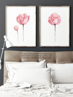Set of 2 Watercolor Peonies Shabby Chic Home от ColorWatercolor