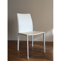 Found it at AllModern - Lily Side Chair. Cheapest leather option $249 for a set of 2.  Allcast leather.