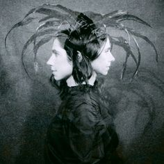 PJ Harvey with feather headdress~ Black and White Photograph
