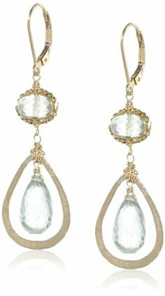Dana Kellin Green Quartz Surrounded By Gold Atop A Faceted Amethyst Gemstone Earrings