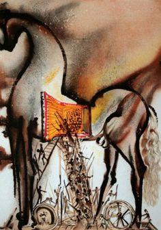 Salvador Dalì, Il cavallo di Troia, litografia, 36x56 cm tratta da Les Chevaux de Dalì, 1979-72