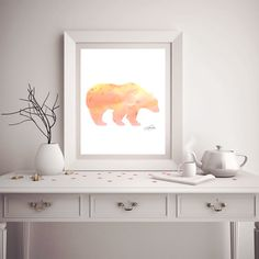 Sunset watercolor Bear print. Watercolor by TheDailyWatercolor