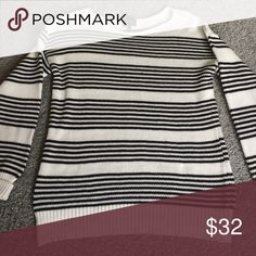 Striped sweater Super comfy black and white striped sweater originally bought from StitchFix market & spruce Sweaters Crew & Scoop Necks
