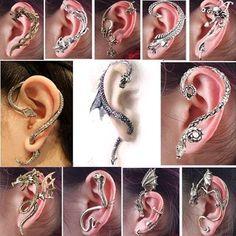 12pcs Gothic Punk Snake Dragon Fox Tiger Animal Flower Cuff Stud Earring