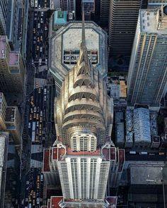 A vertigo-inducing view of the Chrysler Building. : @mattpugs via Instagram