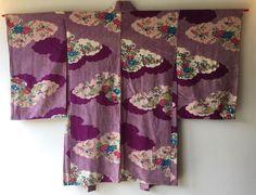 Vintage Japanese Kimono Haori Jacket Silk purple cloud floral