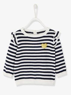 Jumper with Frill for Baby Girls - BLUE DARK SOLID WITH DESIGN+BLUE DARK STRIPED+PINK LIGHT SOLID WITH DESIGN+YELLOW DARK SOLID WITH DESIGN - 4