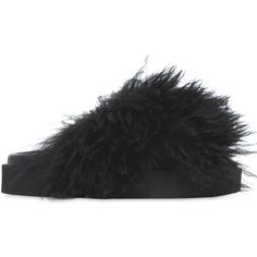 Msgm Women 30mm Shearling Slide Flats ($465) ❤ liked on Polyvore featuring shoes, flats, black, shearling shoes, rubber sole shoes, black flats, black rubber sole shoes and flat shoes
