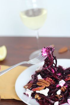 25. Fancy Beet Noodles with Goat Cheese and Pecans