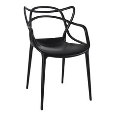Modway Entangled Dining Armchair In Black Twists and turns greet you at every turn with the Entangled dining chair. Unabashedly, Entangled is a molded plastic dining chair that conveys the complexity of drive and ambition, love and life. Patio Dining Chairs, Cafe Chairs, Dining Arm Chair, Side Chair, Desk Chairs, Swing Chairs, Philippe Starck, Delia Fischer, Masters Chair