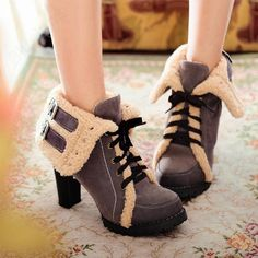Discount China china wholesale Womens Fashion Ankle Snow Boots High Heels Bootie Lace Up Chunky Cotton Pumps [50025] - US$20.99 : DealsChic