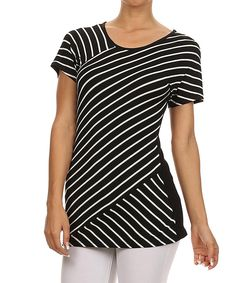 Look at this One Fashion Black & Ivory Diagonal-Stripe Top on #zulily today!