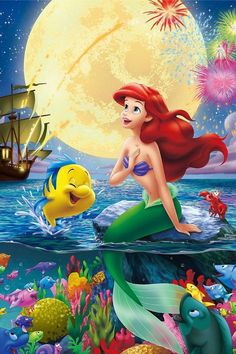 Ariel 〖 Disney The Little Mermaid Ariel Flounder Sebastian fireworks 〗 Walt Disney, Cute Disney, Disney Magic, Disney Art, Disney Movies, Disney Collage, Disney Villains, Disney Princesses, Ariel Mermaid
