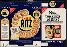 Featuring a dramatically different color scheme is this cool Cheese Ritz box. Not quite sure of the vintage on this one - could be or Vintage Food Labels, Vintage Packaging, Vintage Recipes, Miniature Kitchen, Miniature Food, Barbie Food, Ritz Crackers, Diy Home Crafts, Miniture Things
