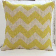 OJIA 18 X 18 Inch Cotton Linen Chevron Zig Zag Pattern Home Decorative Throw Pillow Cover Cushion Case With Gift Card (Yellow)