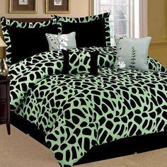 7PC Kenya Giraffe Green Wild Animal Comforter Set Black QUEEN Size Bed in Bag