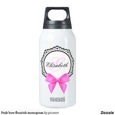 Pink bow flourish monogram insulated water bottle