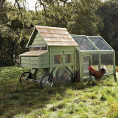 Beautiful Chicken Coop Tractor. (Please share via  FB Rita D'Alvarez via Homesteading / Survivalism!)  Chicken tractors allow a kind of free ranging along with shelter, allowing chickens fresh forage such as grass, weeds and bugs, which widens their diet and lowers their feed needs. Unlike fixed coops, chicken tractors do not have floors so there is no need to clean them out.